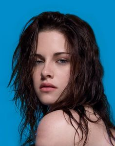 Kristen Stewart with tousled brown, wet-look hair for Dazed and Confused #kristenstewart #hair #style