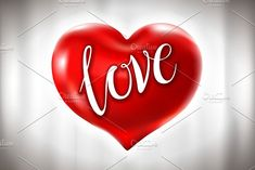 Romantic red heart background vector by Rommeo79 on @creativemarket