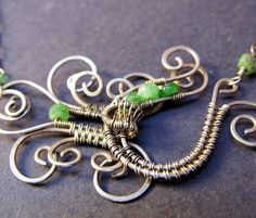 Butterfly Clasp Necklace- Sterling silver and Tsavorite