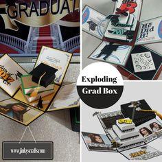 graduation announcement exploding box w 3d books - Unique Graduation Invitations