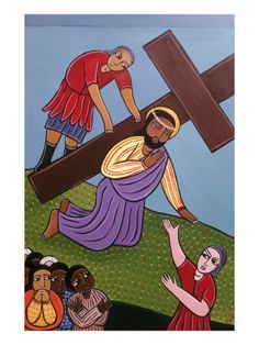 Jesus Falls Beneath the Cross, No. 3 in 14 Stations of the Cross Series, 2002 by Laura James