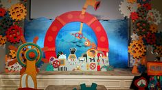 Submerged VBS 2016 Full view of backdrop for The Helm (Worship Rally). Photo taken at the Lifeway 2016 VBS Preview Event in Fort Worth, Texas.