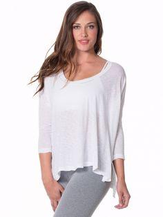 Oversized 3/4 Sleeve Raglan T White