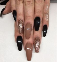 77 Trendy Brown Nail Art Designs and Ideas - Brown nail designs are of great diversity because they have dominated the market since a long time - Fall Acrylic Nails, Acrylic Nail Designs, Nail Art Designs, Brown Nail Designs, Nails Design, Toe Nails, Pink Nails, Glitter Nails, Coffin Nails