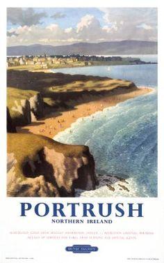 Northern Irish Travel Art Poster,Rocks sea, Ramore Head, Portrush, County Antrim, Northern Ireland