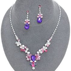 Purple Pink Crystal Necklace Set Bridesmaid Jewelry Boxed BoxJ2 -- Check this awesome product by going to the link at the image.(This is an Amazon affiliate link and I receive a commission for the sales)