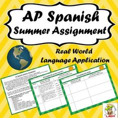 AP Spanish Summer Assignment - Get students to continue practicing Spanish over the summer with authentic language use
