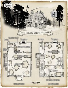 The Thirsty Serpent Tavern and Gambling Room Fantasy City, Fantasy Map, Medieval Fantasy, Fantasy World, Pathfinder Maps, Building Map, Rpg Map, Map Maker, Adventure Map