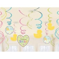 12 X Tiny Bundle Baby Hanging Swirl Decorationsbaby Shower Parties | eBay