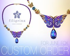 CUSTOM ORDER for June Fox. Purple butterfly necklace. by Filigrina