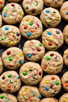 An easy recipe for soft and thick peanut butter M&M cookies.