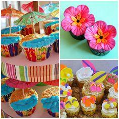 Cupcakes decorados para festinha colorida Havaí