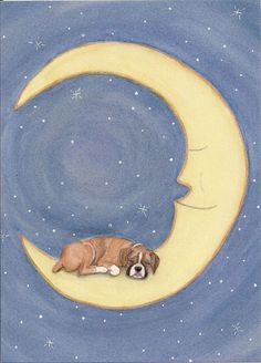 Boxer dog sleeping on the moon / Lynch signed folk art print #folkart