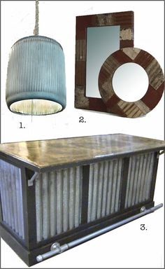 Barn tin kitchen bar...could use salvaged roof tiles instead of the corrugated tin...foot rail idea with pipe