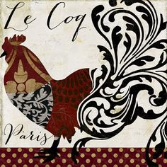 Fleur De Lis Living 'Roosters of Paris I' Graphic Art Print Format: Canvas My Canvas, Canvas Artwork, Canvas Size, Damask Decor, Images Vintage, Chicken Art, Chickens And Roosters, Metal Wall Art, Online Art
