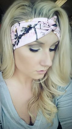 PINK Realtree Camo headband, stretch cotton twist headband camouflage on Etsy, $20.00