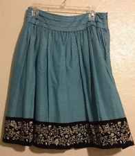 Apt 9 Skirt 8 A Line Floral Cotton Lined Teal Blue Black Pleated Waist Fun