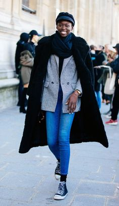 winter outfits fancy 9 Expensive-Looking Winter Ou - winteroutfits Jeans Outfit Winter, Denim Outfit, Winter Outfits, Winter Clothes, Faux Shearling Coat, Leather Trench Coat, Dress Stores Near Me, Black Puffer, Jeans And Sneakers