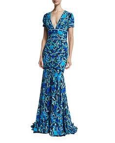 W09FS Naeem Khan Short-Sleeve V-Neck Mermaid Gown, Blue/Green/Multi