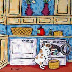 bulldog laundry picture animal ceramic dog art tile