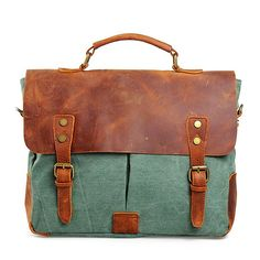 GSPStyle Unisex Canvas Messenger Briefcase Bag with Leather Decoration * Continue to the product at the image link.