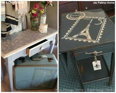 6 ideas on using French designs and Chalk Paint for vintage furniture stencils - Royal Design Studio Ikea Furniture, Paint Furniture, Custom Furniture, Furniture Makeover, Vintage Furniture, Furniture Design, Furniture Ideas, Stencil Table Top, Stenciled Table