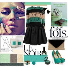 """Mint & Noir"" by doriana-d on Polyvore"