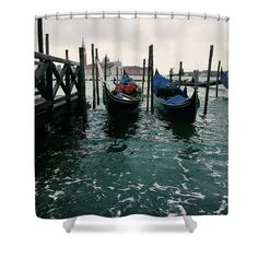 """Other Venice  Shower Curtain by Marina Usmanskaya.  This shower curtain is made from 100% polyester fabric and includes 12 holes at the top of the curtain for simple hanging.  The total dimensions of the shower curtain are 71"""" wide x 74"""" tall.            #MarinaUsmanskayaFineArtPhotography, Art for Home, Art Prints, Venice"""