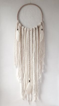 Boho éthérée XL Cream Dream Catcher Attrapeur de par owlsroadstudio