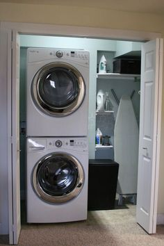 Laundry Room Small Makeover Design With Top Loading Washer And Wooden Door Ideas Inspiring To Saving Spaces