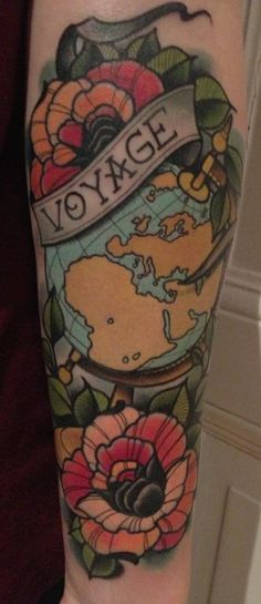 Voyage travel tattoo world globe flowers arm ink tattoos Like the map/compass dealio