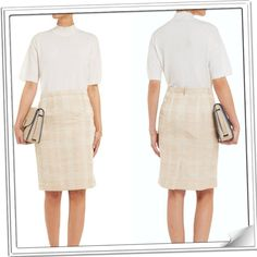 """Tory Burch Devora Sateen Skirt Size 8.  Measures about 23"""" in length and 15 1/2"""" across the waist.  It has a banded waist, waist darts, back zip closure and is lined.  Cotton/acrylic/nylon/polyester.  Dry clean.  No trades or PayPal. Tory Burch Skirts Pencil"""
