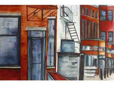 Watercolor on Archers by Carolyn Sherman, depicting Low Ave., Concord. Available for bid!