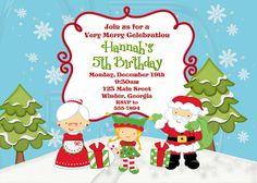 Santa Elf Birthday Invite  Digital File by graciegirldesigns77