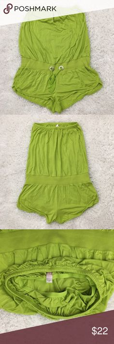 """Victoria's Secret Tube Romper, Lime Green, Small Victoria's Secret tube romper in lime green. Comes with bra support, pockets and waist drawstring. Soft and stretchy.  Fabric is made of modal, spandex and cotton. Machine washable.  Size Small Armpit to armpit laid flat 11.5"""" Waist laid flat 15.5"""" Rise 8.5"""" Seam 1.5"""" Approximate only.  Great condition. No stains or holes. Freshly washed. Stored in a smoke and pet free household.  Please see all pictures in detail or ask any questions to avoid…"""