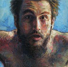 """Anu"" - David Asenjo, acrylic on canvas painting, 2011 {figurative #impressionist art male head bearded man face portrait texture painting #loveart} davidagenjo.com"