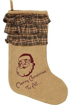 """Burlap Santa Stocking 11x15"""""""