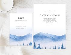 Watercolor Mountain Wedding Invitation, Lake Wedding Invitation, Forest Mountain Invitation, Rustic Wedding Invitation