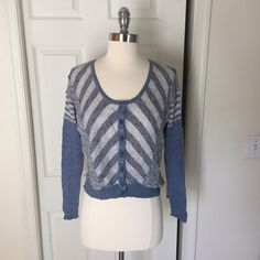 Free People Striped Blue Cardigan - S Lovely lightweight textured FP cardigan. Size S. In excellent condition! Free People Sweaters Cardigans