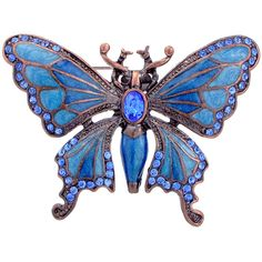 Rosetone Blue Crystal Art Deco Butterfly Brooch ($13) ❤ liked on Polyvore featuring jewelry, brooches, butterflies, pins, accessories, blue, animal jewelry, blue butterfly jewelry, art deco jewelry and pin jewelry