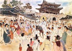Jesus Enters Jerusalem (Palm Sunday), by Kim Ki-chang #koreanjesus