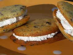 I'd eat two wooden coasters smashed together with marshmallow cream, but this recipe for chocolate chip cookie whoopie pies sounds a lot more app...