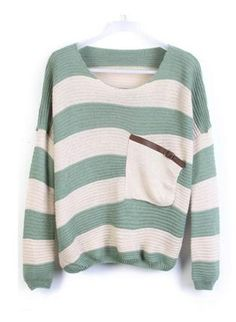 Green Stripes Loose Sweater with Pocket ST001G, Top, Green Stripes Loose Sweater with Pocket, Chic