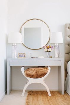 Prime Space to Primp. When space is at a minimum, corners can be cut — four of them to be exact. Instead of trying to fit a nightstand and dressing vanity together in one room, take one table completely out of the equation and instead set up a small sized bedside table. Add a mirror and table lamp for optimal makeup application lighting. Top the vanity with trays for organization and finish the space with a small stool to tuck beneath the table when not in use. A makeover your morning routine will love. (via We Heart It)