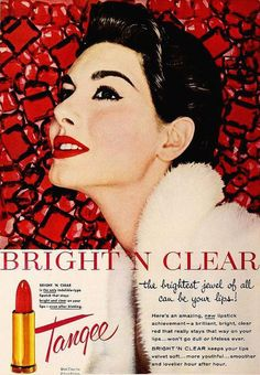 Bright 'N Clear Tangee Lipstick, October 1954. #vintage #1950s #beauty #makeup