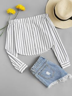 Young Boho Striped Off the Shoulder Long Sleeve White Off Shoulder Single Breasted Striped Top