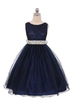 Navy+Blue+Sleeveless+Shiny+Tulle+Flower+Girls+Dress+with+Beaded+Waist+MB-340-NB+on+www.GirlsDressLine.Com