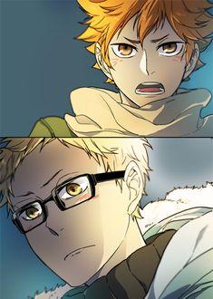 TsukiHina // HQ // it looks like that Hinata might be confessing. Haikyuu Nishinoya, Haikyuu Fanart, Kagehina, Haikyuu Anime, Monkey Girl, Short Comics, Haikyuu Ships, Cute Gay, Doujinshi