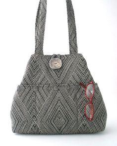 gray handbag fabric tote bag grey purse shoulder bag by daphnenen