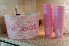 Preppy & Pink! Cute drink tub and monogrammed cups